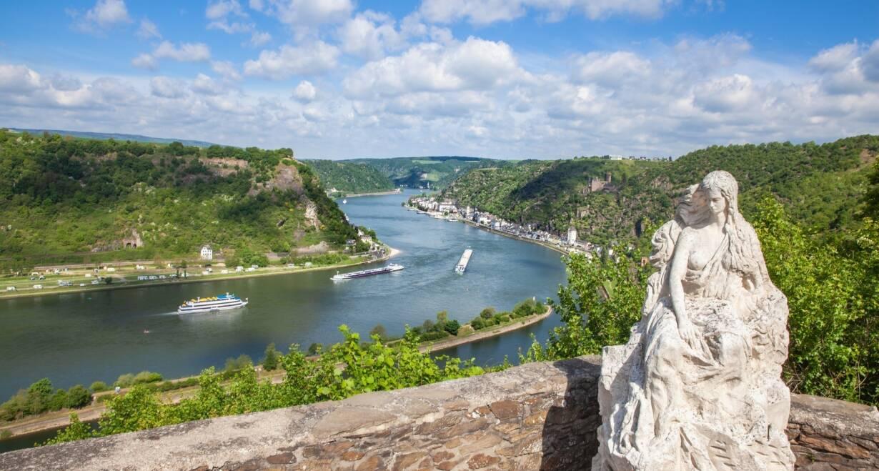 15-daagse Vierlandencruise naar Basel in Zwitserland, Berg- en Dalvaart - DuitslandDüsseldorf – Rüdesheim; Loreley Passage en Rüdesheim – Mainz